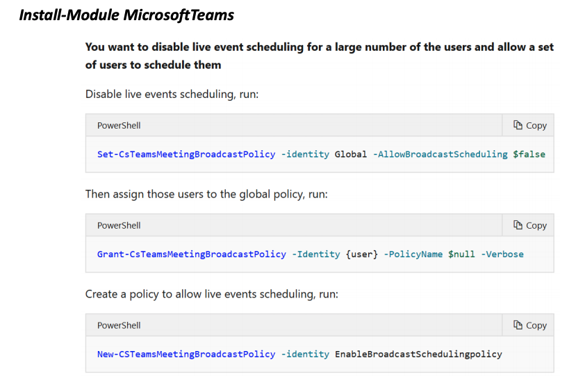 PowerShell for Microsoft Teams Live Events