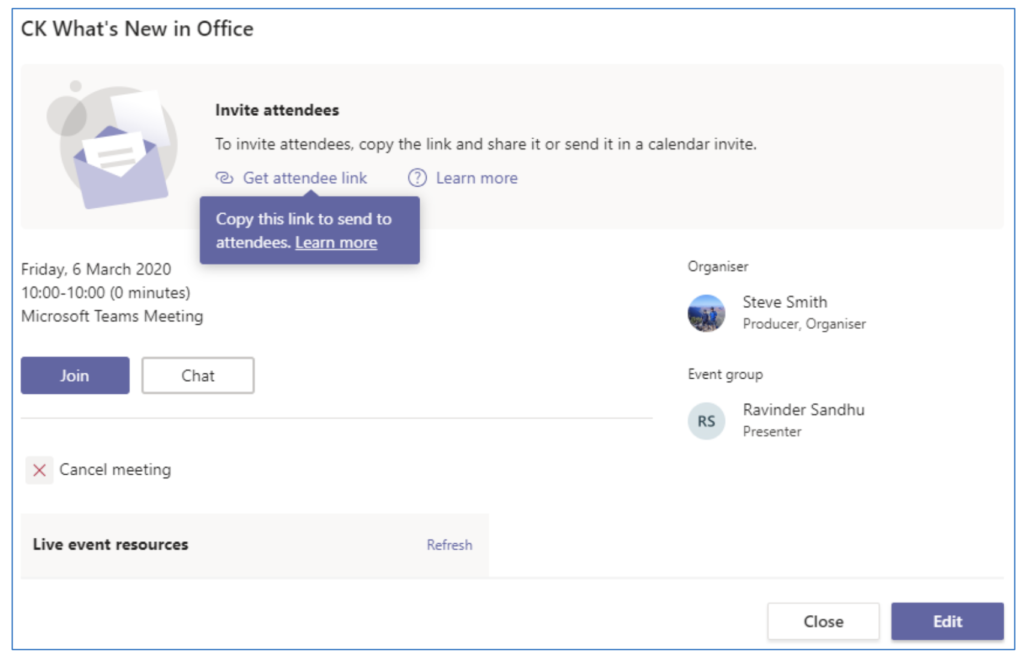 Publish Microsoft Teams Live Event