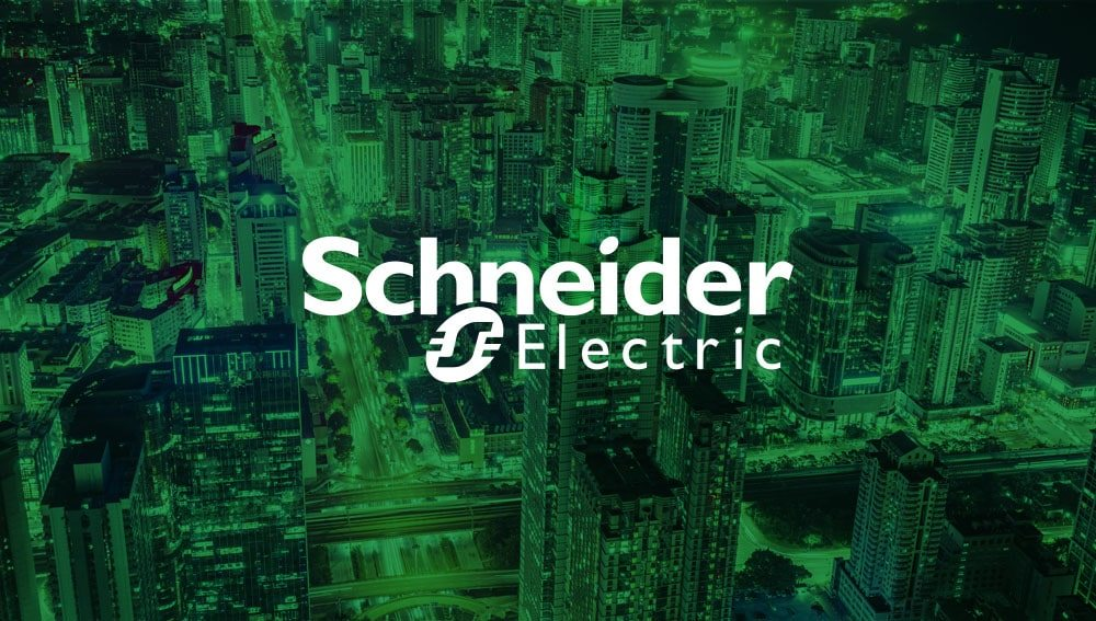 Schneider Electricity logo with a Birdseye view of a city in the background