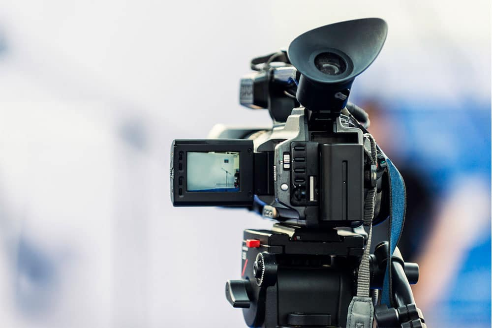 Video camera ready to film someone speaking